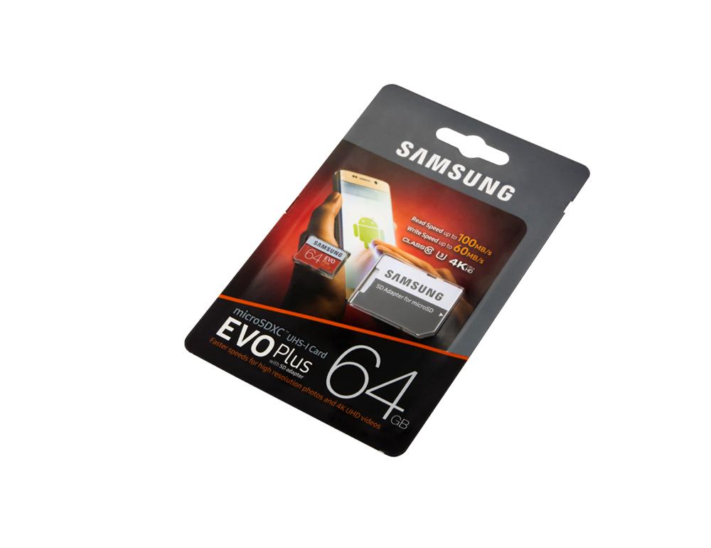 Карта памяти Samsung EVO Plus, microSD, 10 class, 64 Gb фото